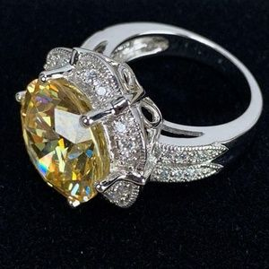 Sterling Silver Cocktail RIng Citrine Stone Size 6